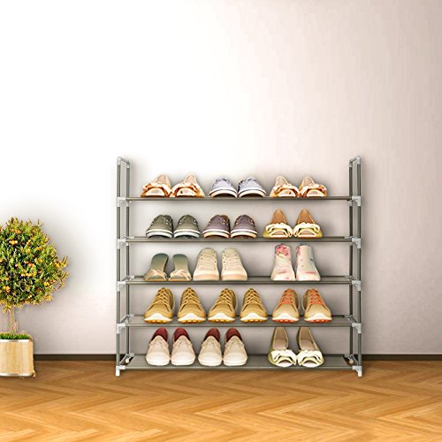 Blissun Shoe Racks Space Saving Non-woven Fabric Shoe Storage Organizer Cabinet Tower (5 tiers, Grey)
