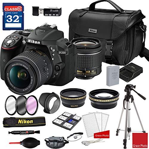 Nikon D5300 DSLR Camera with AF-P DX NIKKOR 18-55mm f/3.5-5.6G VR Lens + Nikon DSLR Camera Case + 32GB Memory Bundle (24pcs)
