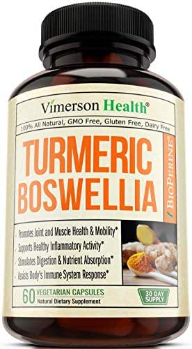 Turmeric Curcumin with BioPerine, Boswellia and Ginger. Advanced Turmeric Combination. Promotes Healthy Cartilage Function. Vegan, Gluten-Free, Non-GMO, Natural. 60 Vegetarian Capsules.