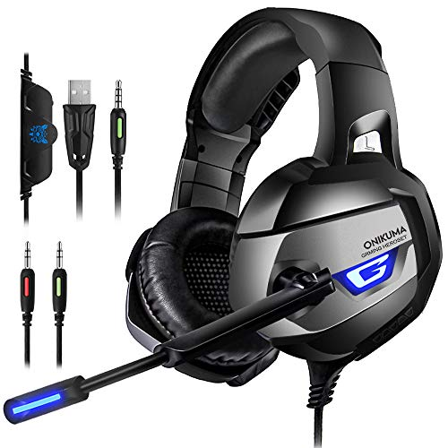 - ONIKUMA Gaming Headset for PS4, PS4 Gaming Headset with 7.1 Surround Sound, Xbox One Headset with Noise Canceling Mic LED Light, Over-Ear Headphones for PS4, Xbox One, PC, Mac, Laptop, Nintendo Switch