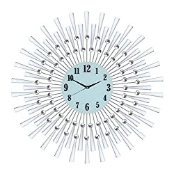 IMPORTED GIFT DEPOT Silver Spoked Sunburst Wall Clock Handmade 28 Clear Crystal Jewels High-End Modern Elegant Home Decor