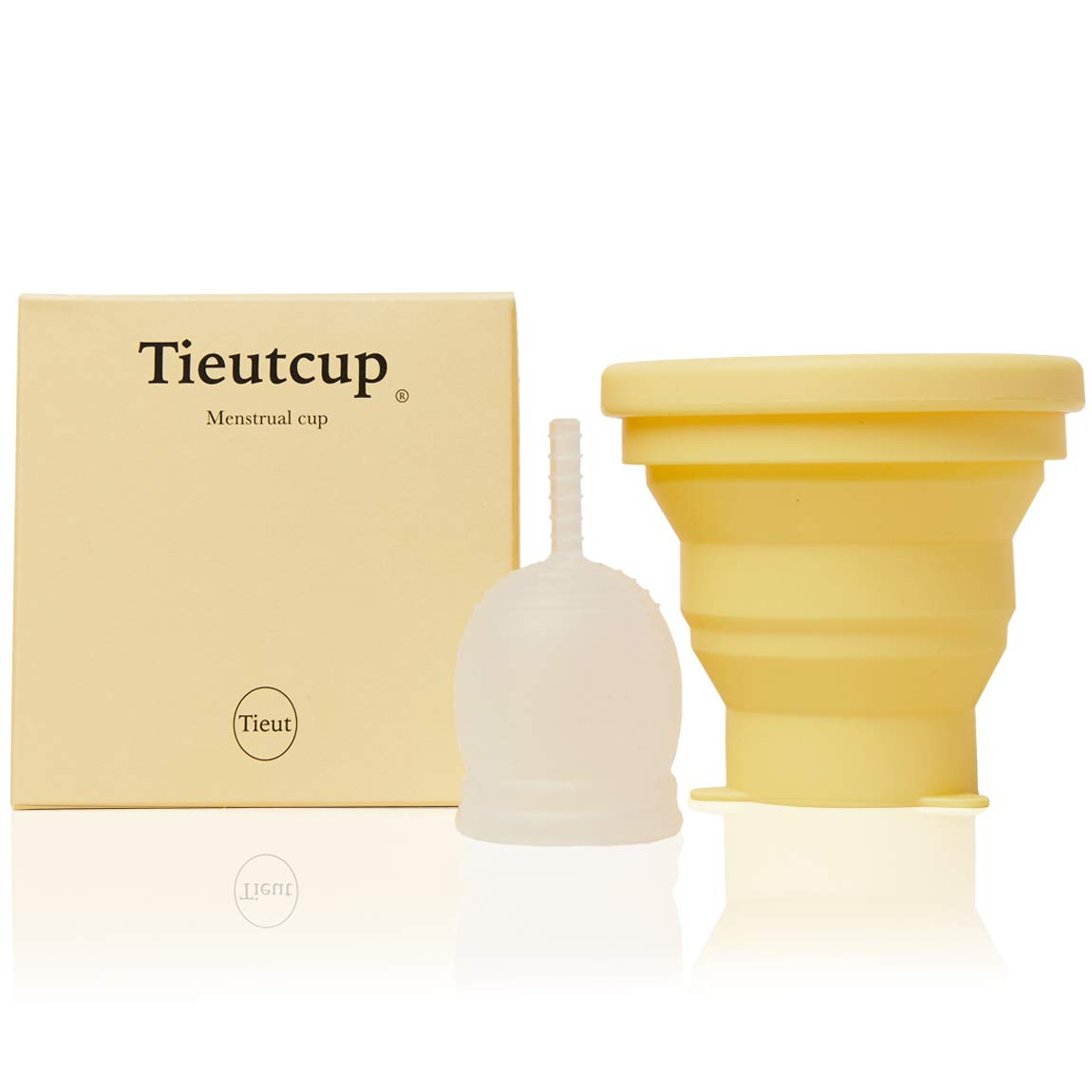 Tieut Cup Pack of Compressible Container and Period Cup Large Size (42ml) - Womens Vagina & Menstrual Period Cups and Cup Holder Both Reusable Made with Silicone Hold up to 12 Hours