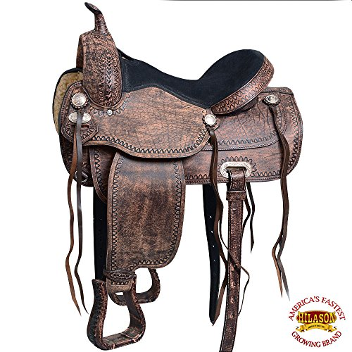 HILASON 17″ Western Horse Saddle American Leather Flex Tree Trail