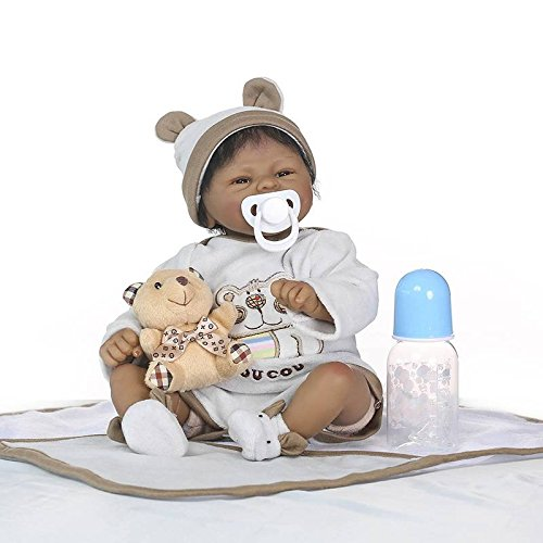 Nicery Reborn Baby Doll Indian African Dark Skin 16inch 40cm Soft Simulation Silicone Vinyl Magnetic Mouth Lifelike Vivid Boy Girl Toy White Clothes Brown Bear ID40C002 from Nicery