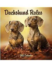 Dachshund Rules: 2021 Wall Calendar - Mini size 7'' x 7'' - 12 Months