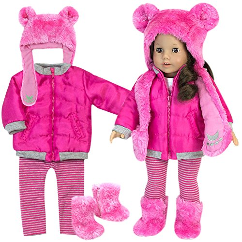 Sophia's Doll Clothes 4 Pc. Set of Pink Polar Bear Hat, Boots, Fuchsia Jacket & Matching Leggings 18 Inch Doll Winter Outfit: 4 Pc Fuchsia Doll Coat, Leggings, Polar Bear (Bear Doll Set)