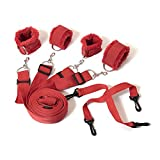 Bed Restraints Kit System,EYLEER Premium Medical Grade Strap with Soft Furry Comfortable Wrist and Ankle Cuffs for Sex Role Cosplay (red)