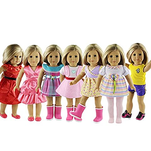 ZWSISU 18-Inch 7 Outfits American Girl Doll Accessories Set