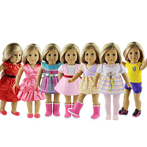ZWSISU 18-Inch 7 Outfits American Girl Doll  Accessories Set (A American Girl Doll Clothes)