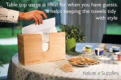 Nature Supplies Bamboo Paper Towel Dispenser For Bathroom and Kitchen - Wall Mount and Countertop Multifold Paper Towel, C-Fold, Zfold, Tri fold Hand Towel Holder Commercial by Nature Supplies (Image #4)