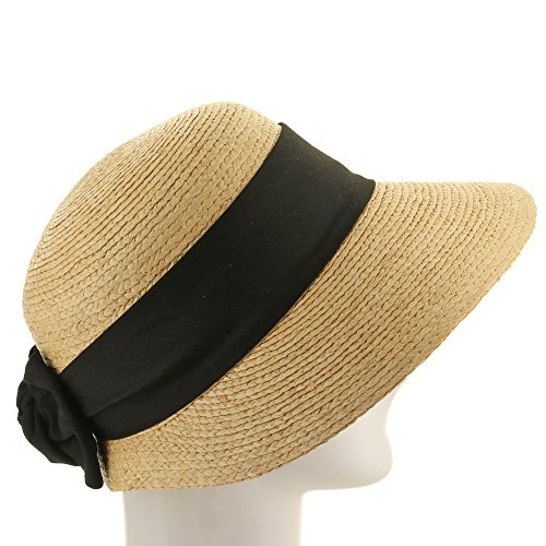 Golf Visor Scoop Panama Straw Hat Womens Black hatband 7 1/8 by Ultrafino (Image #3)