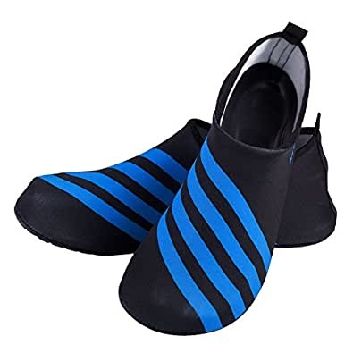 LUXUR Running stripes Skin Shoes Flexible Barefoot Flats suitable for Indoor and Outdoor Yoga Sports Unisex Blue XX-Large
