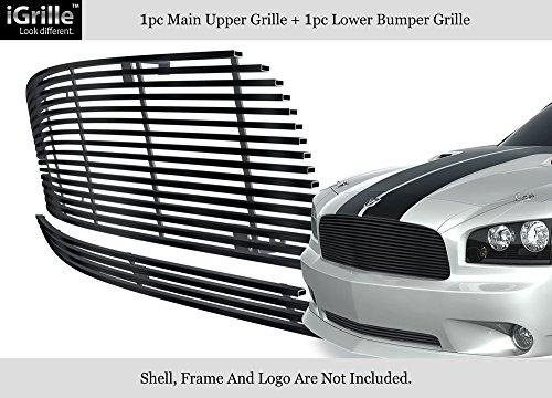 2007 Dodge Charger Billet (304 Stainless Steel Black Billet Grille Grill Combo Fits 05-10 Dodge Charger #D87889J)