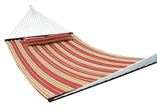 SueSport NEW Hammock Quilted Fabric with Pillow Double Size Spreader Bar Heavy Duty,Burgundy/Tan Pattern