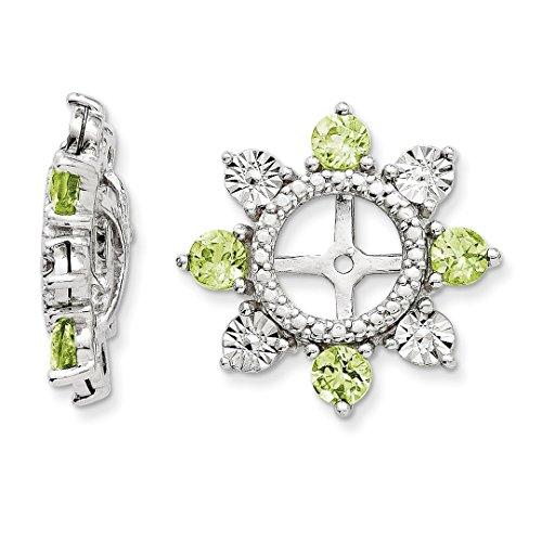 ICE CARATS 925 Sterling Silver Green Peridot Earrings Jacket Birthstone August Fine Jewelry Gift Set For Women Heart