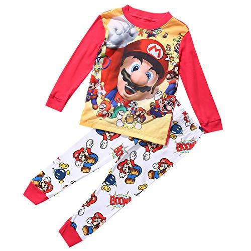 jsadfojas Peuter Boy Super Mario Kindercartoon pyjama voor kinderen, 1-7 jaar oud jongenskostuum