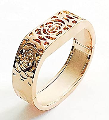 BSI Elegant New Rose Gold Metal Replacement Jewelry Bracelet With Unique Flowers Design Rose Gold Metal Housing For Fitbit Flex Smart Band