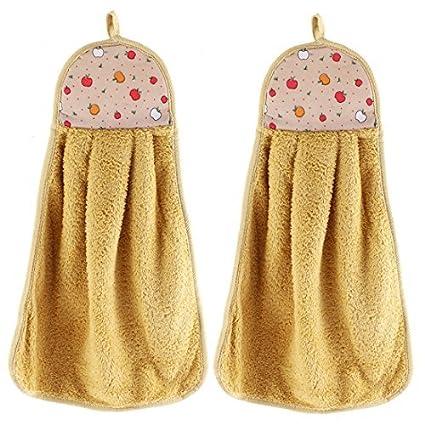 DealMux a Apple Padrão Tapeçaria Cozinha Mão secador de toalhas 2 Pcs Castanho Claro