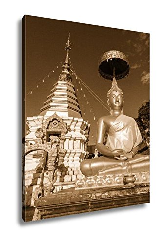 Ashley Canvas Thai Golden Buddha Statue With Pagoda Thailand, Wall Art Home Decor, Ready to Hang, Sepia, 20x16, AG5265019 by Ashley Canvas