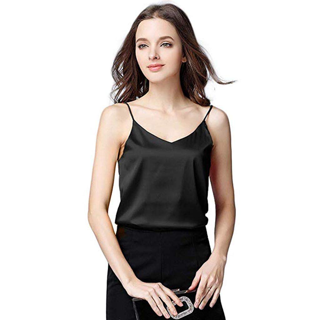 Women Crop top,Ladies Summer Silk Camisole Sexy Bottom Blouse Soft Satin Tank Shirt Vest Polos Tees Tunics Camis Black