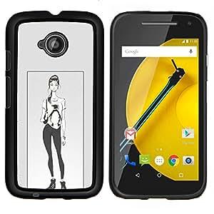 LECELL--Funda protectora / Cubierta / Piel For Motorola Moto E2 E2nd Gen -- Pingüino Cartel Chica Mujer Moda --
