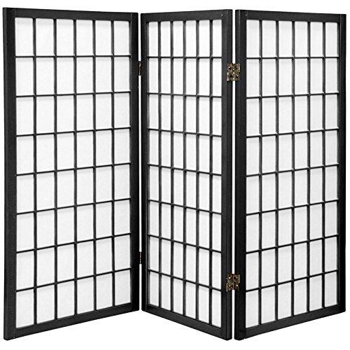 Oriental Furniture 3 ft. Tall Window Pane Shoji Screen - Black - 3 Panels