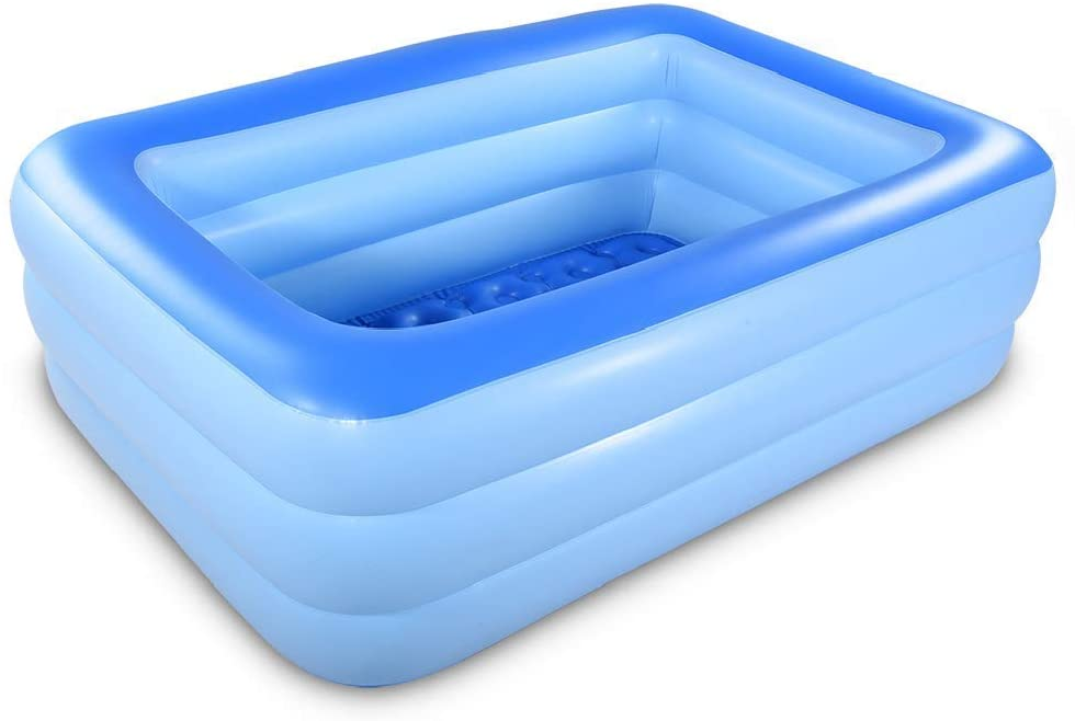 Inflatable Family Swim Play Center Pool, 82 inches Gaint Blow Up Pool Summer Water Fun with Inflatable Soft Floor for Family, Garden, Outdoor, Backyard (82IN Blue)