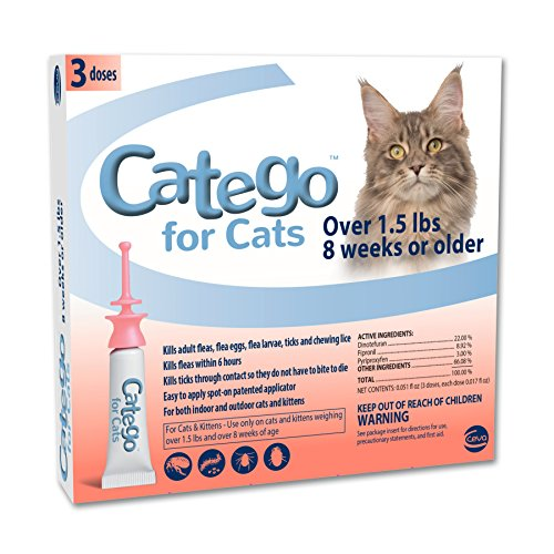 Catego Fast-Acting Flea and Tick Treatment for Cats/Kittens (Over 1.5 lbs), Kills Fleas Within 6 Hours, Prevents Flea Re-Infestations