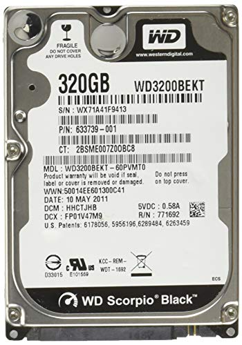 - WD Black 320 GB Mobile Hard Drive, 2.5 Inch, 7200 RPM, SATA II, 16 MB Cache (WD3200BEKT)  (Old Model)