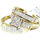 Midwest Jewellery Yellow Gold Trio Wedding Set Mens Women Rings Real 1/2cttw Diamonds Pave(I/j Color 0.5cttw)