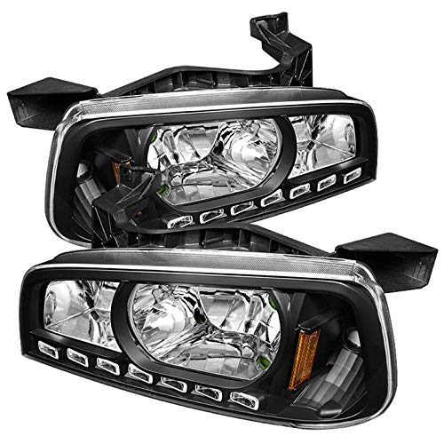 Xtune for 2006-2010 Dodge Charger 2in1 LED Headlights Black Headlights Lamp Set Pair Left+Right/2007 2008 2009