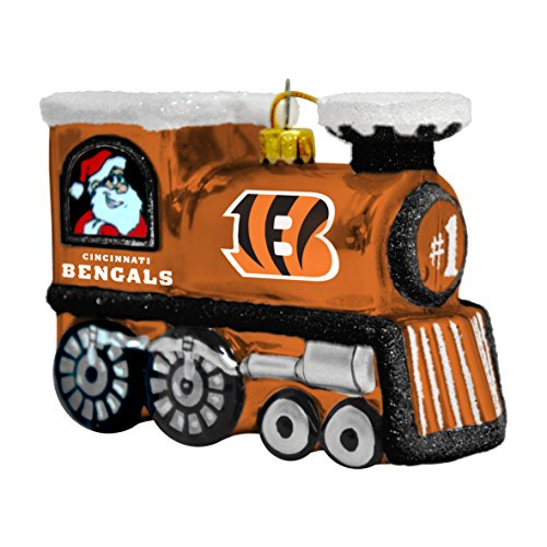 Cincinnati Bengals Glass Train Ornament