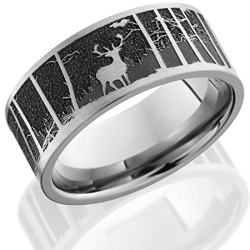 Rings Titanium Carved (Titanium Ring Wedding Band Anniversary Ring 9mm Flat Band with a Laser Carved Elk Pattern with Mountain and Wood Background)