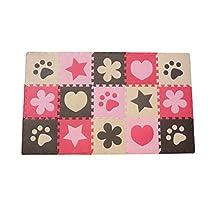 Menu Life 10 Piece Beige Café Pink Red Kids Baby Soft EVA Foam Activity Play Mat Floor Tiles Pop-out Puzzles Mat