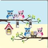 Rikki Knight Owl Bird Family illustration on Tree Design Double Toggle Light Switch Plate