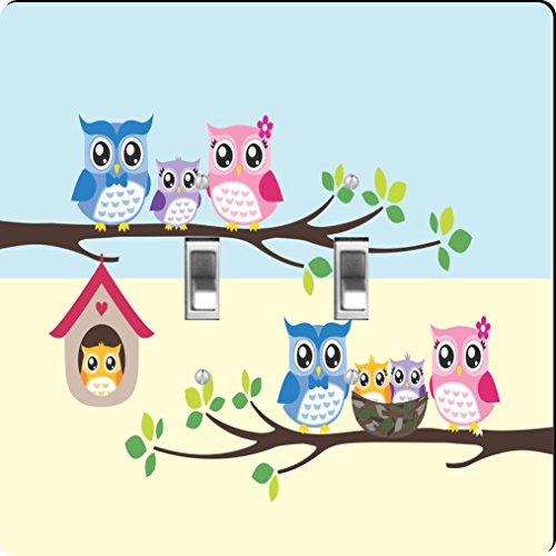 Rikki Knight Owl Bird Family illustration on Tree Design Double Toggle Light Switch Plate by Rikki Knight