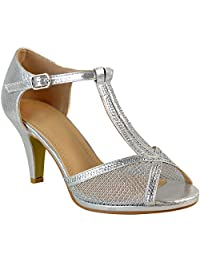 Fashion Thirsty Womens Wedding Bridal Shoes Prom Mid Heel Diamante Party Sandals Size