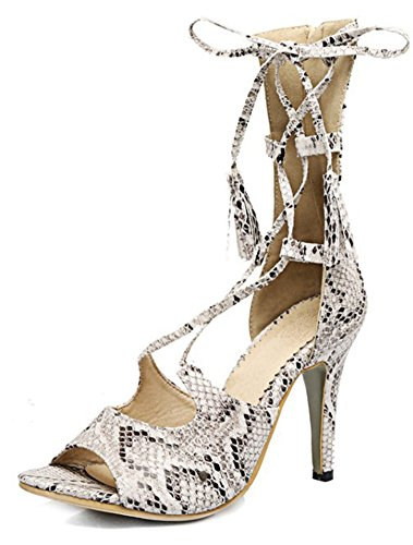 Mofri Women's Stylish Snake Pattern Print Peep Toe Self Tie Back Zipper Stiletto High Heels Mid Calf Gladiator Sandals White 4 B(M) US ()