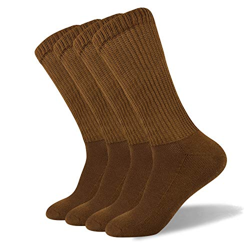 Well Knitting Men's Non-Binding Diabetic and Circulatory Extra Wide Top Coolmax Crew Socks,4 Pairs (L,Brown)