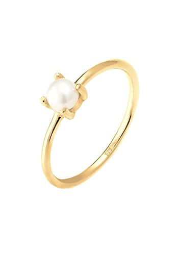 Elli Women Gold Plated 925 Sterling Silver Pearl Crystal Adjustable Ring 8ZD7mMiO
