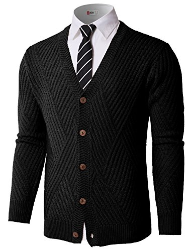 H2H Mens Slim Comfortably Knitted Long Sleeve V-Neck Sweaters Cardigans Black US L/Asia L ()