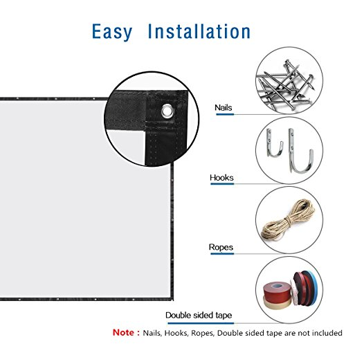 120 Inch 16:9 Portable Projector Screen High Contrast Collapsible PVC HD 4K Design with Hanging Hole Grommets for Front Projection Home Indoor and Outdoor Movie Match Party by Excelvan (Image #1)