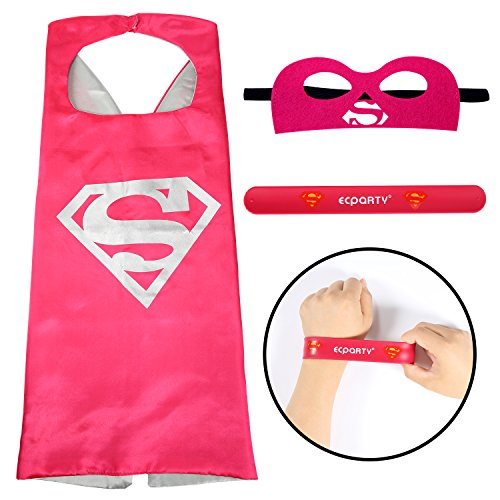 Ecparty Superhero Cape and Mask and Bracelets Costumes Set for Kids (Super girl)) (Supergirl Dog Costume)