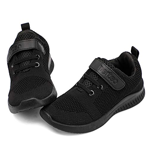 nerteo Toddler Sneakers Boys Girls Kids Running School Uniform Shoes   Breathable, Lightweight. Machin Washable All Black 9 M US Toddler