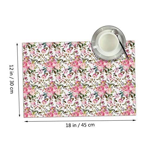 Coolfun Harper Pink Bouquet Florals Themed Print Pattern 4 Piece Set of Placemats Pc Party Kitchen Dining Room Home Table Place Mat Patio Holidays Decorations Decor Ornament