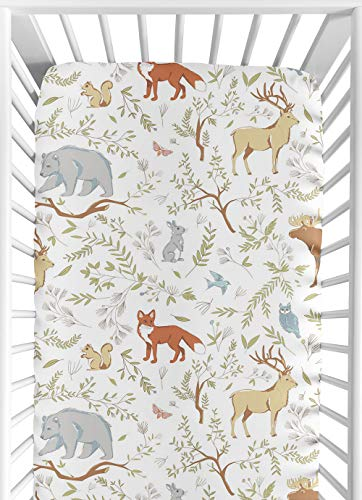 Sweet Jojo Designs Fitted Crib Sheet for Woodland Toile Baby/Toddler Girl or Boy Bedding Set Collection - Animal Print (Toile Baby Girl)