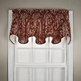 Ellis Curtain Foliage Design Floating Leaves Lined Window Scallop Valance – 70×15 Red