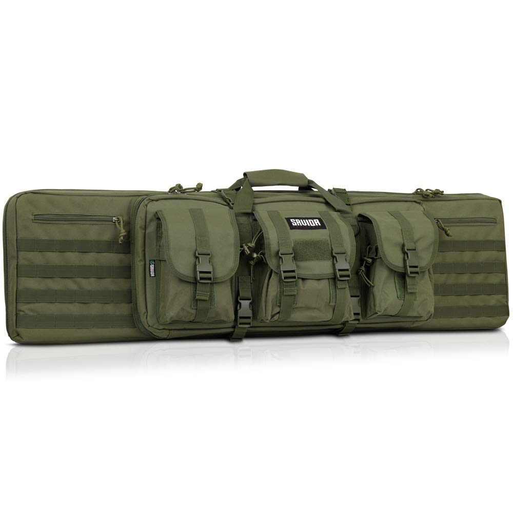 Savior Equipment American Classic Tactical Double Long Rifle Pistol Gun Bag Firearm Transportation Case w/Backpack - 51 Inch Olive Drab Green by Savior Equipment