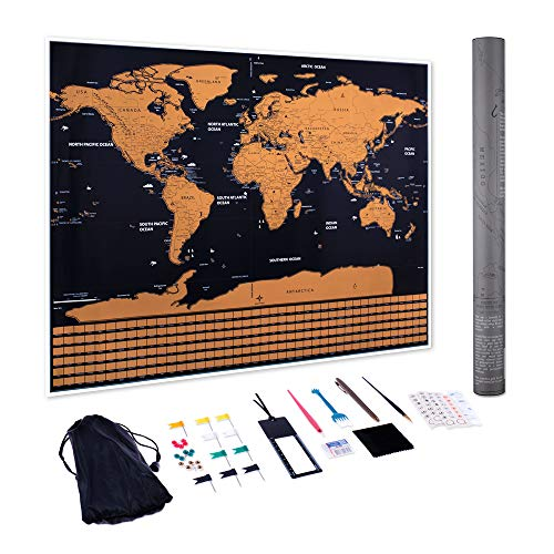 Scratch Off Map of The World - 39 Piece Set with Marking Pens, Scratching Pens, Magnifier, Eraser, Brush, Pins, Flags, Stickers and More ()