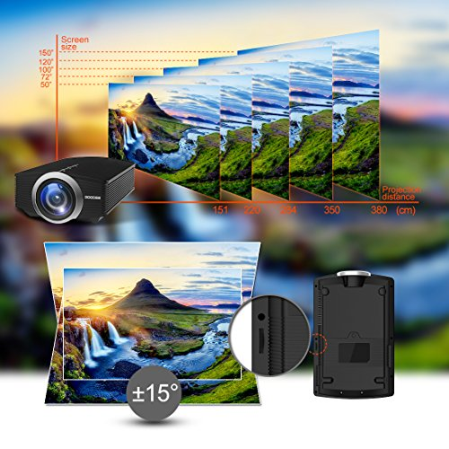 Projector, GooDee Mini Portable Projector Home Cinema Theater Movie Video Projector Support Multimedia HDMI USB for Home Entertainment Games by GooDee (Image #3)